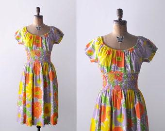 60 bright floral dress. orange, purple, yellow. 1960's peasant dress. s. m. sundress.