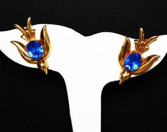 Blue Rhinestone Bird Earrings - Screwback Earrings - Designer Signed Coro with Pegasus - Goldtone Mid Century Modern Birds in Flight