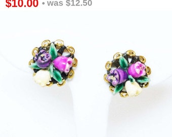Rosebud Earrings - Pink, Purple and White Roses with Green Leaves - Vintage Cottage Chic Brasstone Screwbacks -