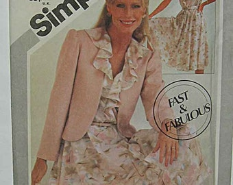 Vintage 80's Misses' Pullover Ruffle, Flounce Sleeveless Dress and Jacket, Simplicity 5364 Sewing Pattern UNCUT Size 8-10-12