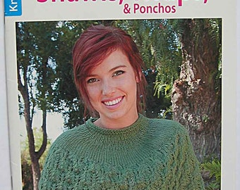 Shawls, Wraps & Ponchos Knitting Book by Leisure Arts Jean Leinhauser and Rita Weiss, 11 Designs, Easy to Intermediate Levels
