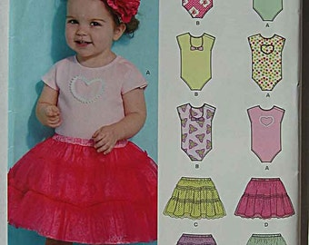 RARE Babies' Infant's Onsie and Tiered Skirt, Tutu, New Look 6135 Pattern UNCUT NB to Large