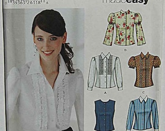 Misses' Blouses with Sleeve and Trim Variations, 6 Made Easy, Simplicity 5872 Sewing Pattern UNCUT Sizes 4-10