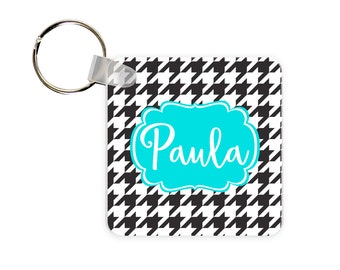 Houndstooth Personalized Square, Round or Rectangle Key Chain