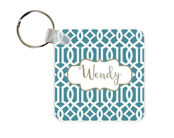 Lattice Print Personalized Square, Round or Rectangle Key Chain