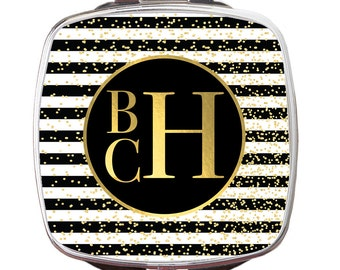 Personalized Compact Mirror, Glam Stripes Personalized Monogrammed Compact Mirror, Custom Compact Mirror, Bridal Gift, Bridesmaid Gift
