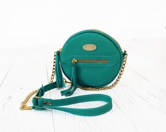SALE Turquoise Leather Round Purse. Chain Adjustable Strap Bag. Handmade Cylindrical Handbag. Evening Purse. Melody Round Purse.