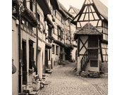 Fine Art Sepia Travel Photography of Cobblestone Lane in Eguisheim France