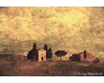 """Fine Art Sepia Photography of Tuscan Landscape - """"Chapel and Farmhouse"""" - Composite Print of Tuscany"""