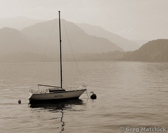 "Fine Art Sepia Photography of Lake Como Landscape - ""Lone White Boat on Lake Como"" (Italy)"
