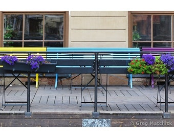 Fine Art Color Photography of a Colorful Benches in Gamla Stan Old Stockholm Sweden
