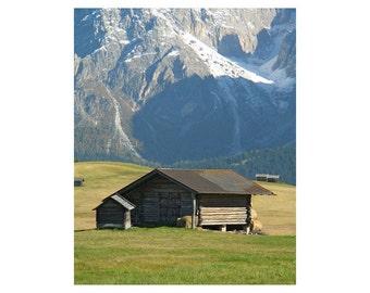 """Fine Art Color Landscape Photography of Alpine Scene - """"Hut in Alpi di Suissi"""" (Dolomites in Italy)"""