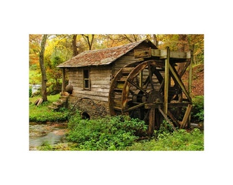 Fine Art Color Rural Americana Photography of Old Mill With Water Wheel in the Missouri Ozarks