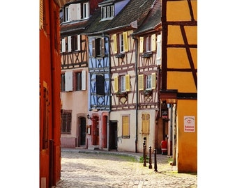 Fine Art Color Travel Photography Morning Sunlight in La Petite Venise in Colmar France