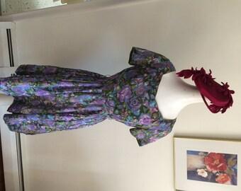 Summer Dress Sheer Floral Vintage Dress Aqua Blue and Purple Big Skirt  Shirtwaist Rockabilly Vintage Day Dress and Jacket Peter Pan Collar