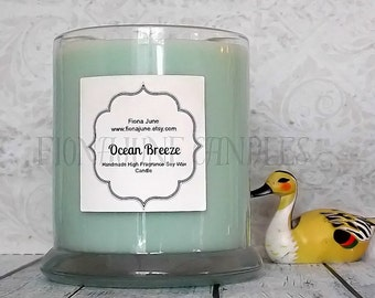 Ocean Breeze Scented Vegan Soy Wax Candle, Status Jar Candle, Prestige Candle