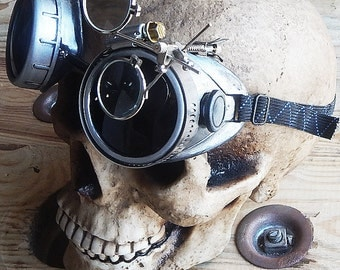 Distressed-Look Silver Steampunk Cyber Welders GOGGLES with Removeable Magnifying EYE LOOPS
