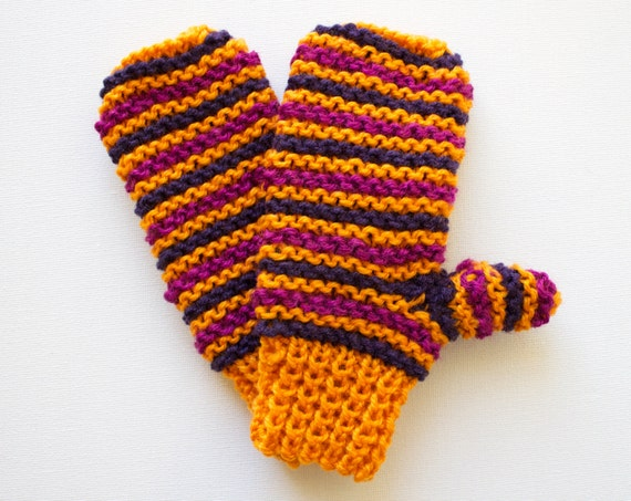 Jack O'Lantern Orange Pixie Mittens - Children's Orange Mittens for Autumn & Winter - Warm Orange Mittens for Kids Gift for Nephew or Niece