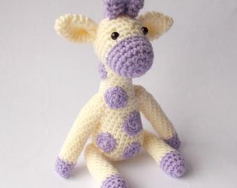 crocheted giraffe, Amigurumi giraffe, crocheted toy, toy giraffe, plush giraffe, stuffed giraffe, soft sculpture giraffe, cream giraffe