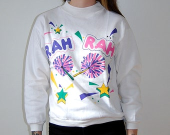 vintage deadstock 90s kawaii pastel cheerleader sweatshirt / size small