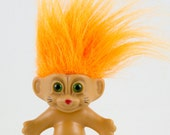 Vintage Russ Troll Doll, Flourescent Orange Hair, Intense green eyes, Black whiskers Red Nose, Cat troll