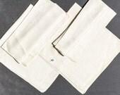 Vintage silk napkins, Set of 4 damask dinner napkins, Very large 27 inches square, Hand hemmed, Beautiful Excellent vintage condition