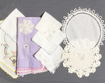 Destash 10 Linens, Vintage apron, Crocheted snowflake and two table doilies, 4 white wedding hankies, and 2 dresser scarves