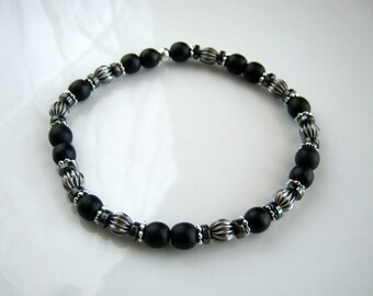 Antique Silver and Black Stretch Bracelet Black Bracelet Black Stacking Bracelet