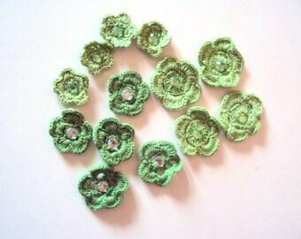 Set of 13 - Handmade Crochet Flowers Crochet Appliques Gift Decorations Handmade Flowers Embellishment