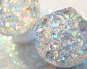 Ice Grey Silver Drusy Druzy Faux Fake Gauges / AB white opal faux druzy studs ear plugs / tunnels 1mm-6mm