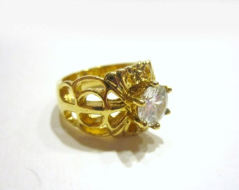 Gorgeous CZ Ring Wide 14K GE Costume Ring Size 8.5 Gift for Her Under 10 Gift Idea Mom Statement Ring