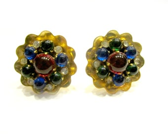 Vintage Coro Earrings Signed Red Blue Gold Green Glass Screw Back