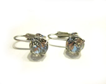 Vintage Rhinestone Clear Round Stone Clip Earrings Vintage Wedding Earrings Bridal Jewelry Clip Formal Earrings Under 15