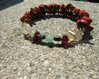 Grief Move On Bracelet, Red Jasper, Garnet,Snowflake Obsidian,Rutilated Quartz,Aventurine, Gemstone Synergy Jewelry, Natural Stone