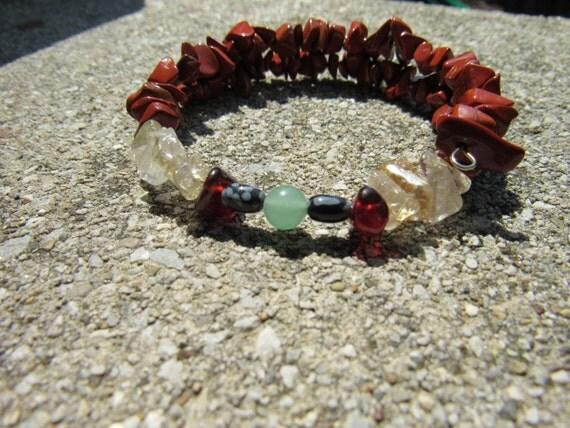 Grief Move On Bracelet, Red Jasper, Garnet,Snowflake Obsidian,Rutilated Quartz,Aventurine, Gemstone Synergy Jewelry, Natural Stone