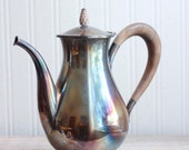 Vintage Silver Teapot or Coffee Pot with Wood Handle, Art Deco Tea Party, Silver Coffee Pot with Patina, Hostess Gift, Holiday Entertaining