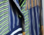 90s Plus Size Button Up Blouse, Funky Pattern, Size 24 W Womens Top, Long Sleeve Office Wear, Mod Style Fashion, Geometric Print, Navy Blue