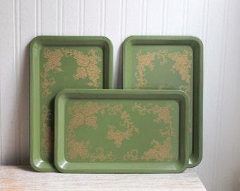 Vintage Metal Trays, Shabby Ornate  Serving Trays, Green Gold Meta Tray, Art Nouveau Home Decor, Tea Party Entertaining, Moss Sage