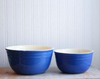 Blue Oxford Stoneware Mixing Bowls, 1950s Vintage Nesting Bowls, Farmhouse Kitchen Decor, Country Kitchenware, Set of 2 Mid Century Bowls