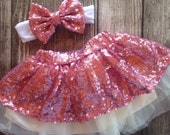 Pink Sequin Skirt Satin Lined Sequin holiday Skirt Birthday outfit Sparkle Skirt Baby Girl Sequin Glitter Skirt pink birthday outfit