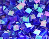 """100 1/2"""" Dark Blue Iridescent Stained Glass Mosaic Tiles"""