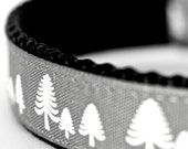 Grey Winter Forest Dog Collar, Christmas Tree Pet Collar, Holiday, Pine Tree