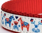 Dala Horses on White Dog Collar, Swedish Dog Collar, Ribbon Adjustable Collar