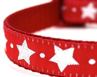 Red Glitter Stars Dog Collar, Christmas Pet Collar, Festive Dog Collar, Holiday