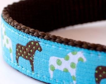 Polka Dot Dala Horse Dog Collar, Blue Adjustable Dog Collar, Ribbon Dog Collar