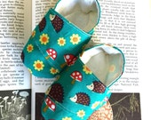 Green Woodland Baby Shoes, Hedgehog Soft Sole Baby Shoes, Baby Booties, Toddler Slippers