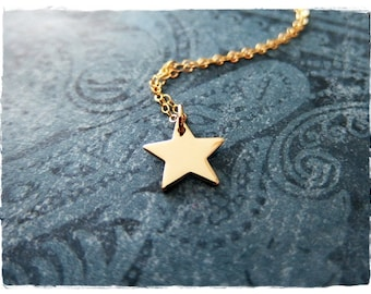 Gold Star Necklace - Bronze Star Charm on a Delicate 14kt Gold Filled Cable Chain or Charm Only