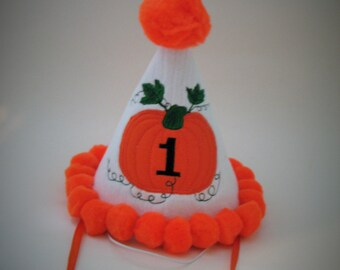 Personalized Birthday Party Hat - Pumpkin Party Hat - Custom First Birthday Party - Ready to Ship - Pumpkin Hat - Birthday Party Pom Hat