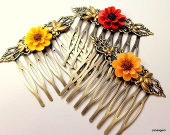 SALE, Gerber Daisies and Honey Bees, Brass Hair Combs