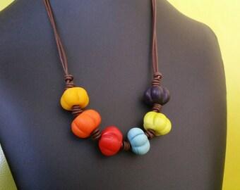 Modern Tribal Chakra  Necklace Adjustable Greek Leather